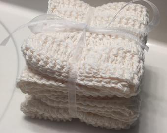 Set of 4, Cream, 100% Cotton Dishcloth, Washcloth