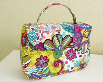 Bright Floral Mable Handbag, Retro Style Cotton Purse