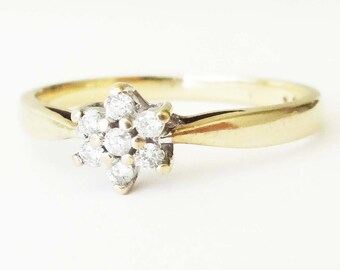 Vintage Diamond Flower Ring, 9k Gold Seven Diamond Cluster Engagement Ring Approximate Size US 7.25