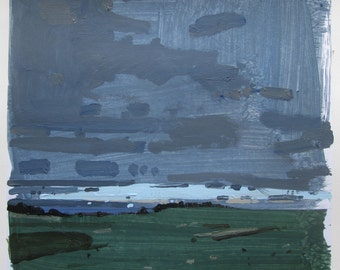 Cold Rain Coming, Original Spring Landscape Painting on Paper, Stooshinoff