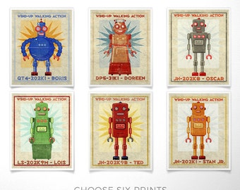 Retro Robot Art Prints- Kid Decor- Set of 6 Robot Prints- Kids Wall Art- Boys Nursery Art- Boys Room- Robot Wall Art Kids Room- Kid Bedroom