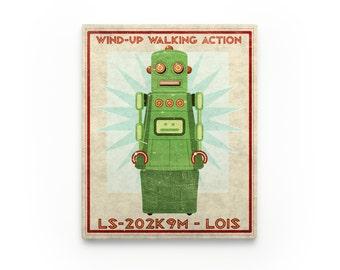 Kid Decor- Lois Retro Robot Art Series Block- Art for Boys Room- Robot Nursery Art- Robot Nursery Decor Boy- Kid Bedroom