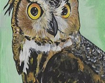 Horned Owl Painting