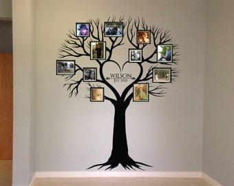 Wall decal, Family Tree Wall Decal - Photo frame tree Decal - Family Tree Wall Sticker - Living Room Wall Decals - wall graphic