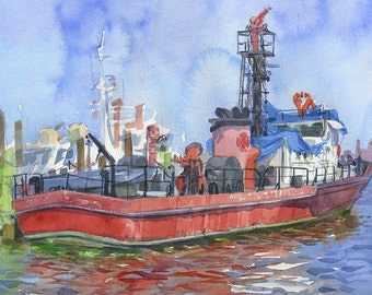 Baltimore Fire Boat No. 1, Fort McHenry, Maryland watercolor plein air painting, Print in multiple sizes