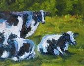 Cow Landscape Pasture 3 Cows Original Oil Painting Animal Farm Ranch Barn Portrait by California Artist Debra Alouise