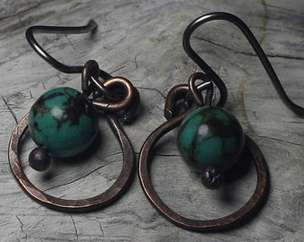 Hammered Copper Hoop Earrings Turquoise