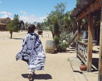 Hand Dyed Moonstone Kimono Robe, Tie Dye, Shibori, Rayon Bathrobe, Anna Joyce, Portland, OR.