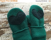 30%OFF SUPER SALE- Wool Heart Mittens-Teal-Toddlers-Eco Friendly