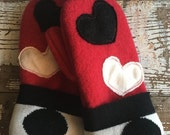 30%OFF SUPER SALE- Felted Wool Mittens- Little Stars-Eco Friendly-Young Child