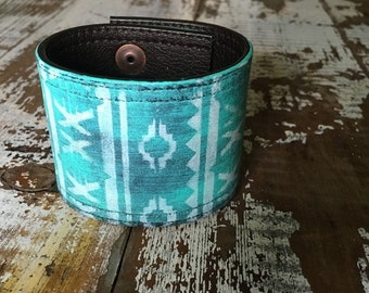 35% OFF CRAZY SALE- Custom Leather Cuff-Create Your Own-Word Cuff-Hand Painted-Aztec Design