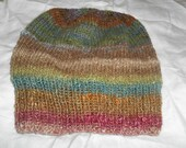 Hand knit watchcap hat beanie Noro Silk Garden Icelandic wool combo mohair unisex men women multi color brown teal