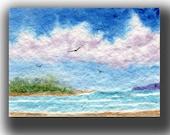 ACEO watercolor BEACH original painting SFA miniature dollhouse mini seascape
