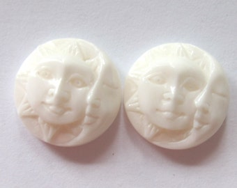 MS Sun Moon Cabochons (2) 13mm 0.5 inch Carved Bone Bali Fair Trade