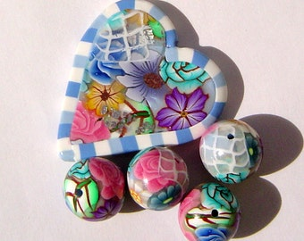 Serenity Blue Victorian Romance  Mother's Day Polymer Clay Bead Set with Focal and 4 Beads (Set Two)