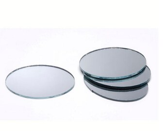 4 ct - OVAL 2 x 1.5 inch SILVER Mirror Glass Mosaic Tiles