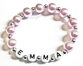 Personalized Children's Name Bracelets in Lavender or Purple. Infant Baby or Toddler Child Kids Glass Pearl Bracelet