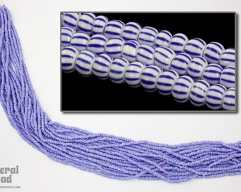 11/0 Opaque White/Blue Stripe Czech Seed Bead (Hank) #CSG183