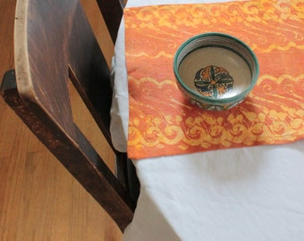 orange and mustard organic linen tablerunner