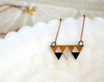 modern bohemian tribal triangle vintage brass necklace- hand enameled - blue and green