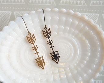 lightweight raw brass tribal arrow filigree dangle earrings