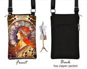 crossbody bag iphone 7s case, iphone 7 plus case, cell phone purse, cell phone holder wallet case, Mucha Zodiac Art Nouveau blue orange RTS