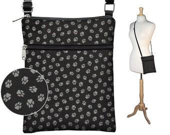 SALE Sling Bag Small Shoulder Purse Black Cross Body Bag  Travel Purse Zipper Pocket  Fits eReaders  Dog Lover Puppy Paw Print gray grey RTS