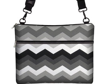 SALE Unisex Laptop Bag 13 inch Laptop Case Chevron Messenger Bag Cross Body Bag Macbook Pro 13 / Air / Retina long strap black  gray RTS