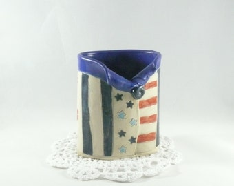 American Eagle Ceramic Vase , Star Spangled Banner Toothbrush holder, Pencil Holder, College Dorm Room Desk Accessory, Soap Dispenser 374