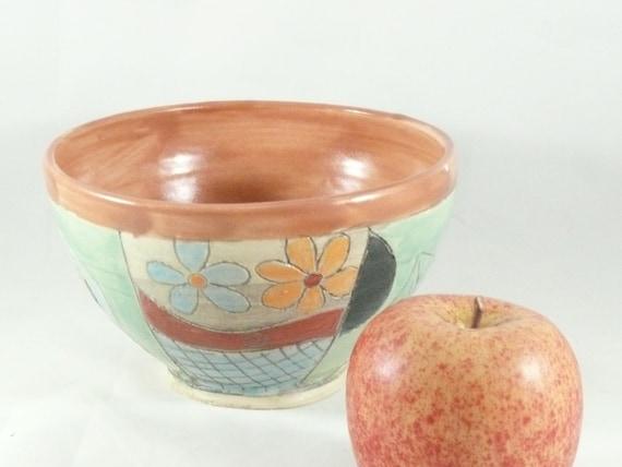 Handmade Ceramic soup bowl, pottery cereal bowl, ice cream dish, key bowl kitchen serving bowl, salad bowl,  Tree and owl design 535