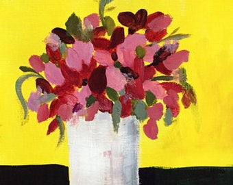 art original acrylic painting on fine art paper, flowers, flower painting, yellow and navy blue, bright yellow art