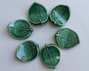Ceramic Chopstick Rests, Set of Six Hand Made , Leaf