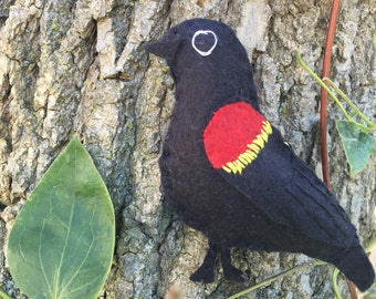 Red winged blackbird bird felt embroidered ornament / home decor