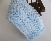 RESERVE LISTING  Blue Doll Blanket - Hand Knit - Small Soft Pale Blue Doll Blanket/Afghan/Lovie -