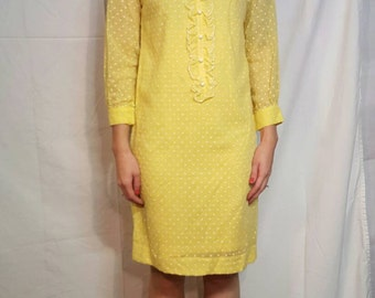 Mod 60s Yellow Polka Dot Short Shift Dress