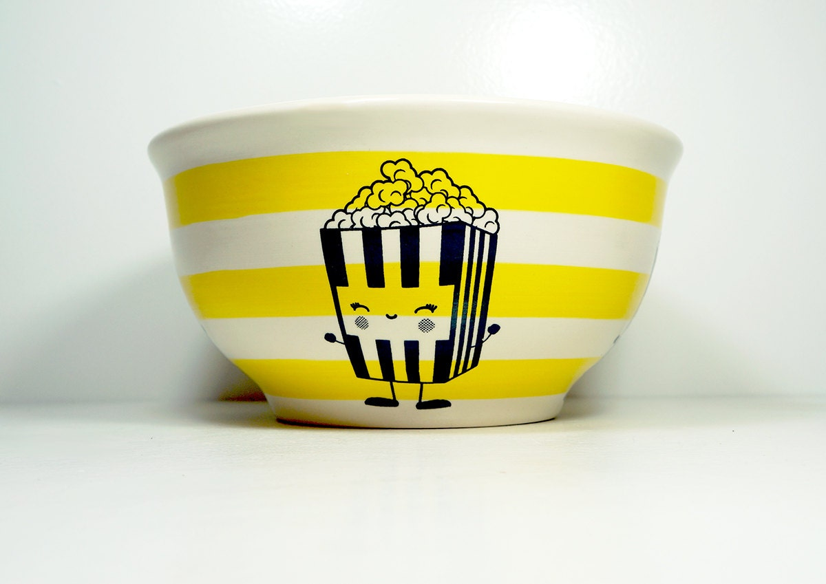 large bowl featuring a very Happy Popcorn print - Made to Order/Pick Your Colour