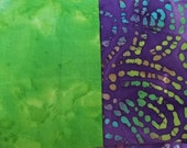 BATIK 100% Cotton India Purple Multi Color Paisley Lime Green Craft Cuts 2 Coordinating Yards 42 Wide