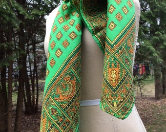Vintage Green paisley silk scarf