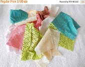 WINTER SALE - Eyelet  fabric pieces, crazyquilting, patchwork,applique, sewing