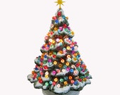 Ceramic Christmas Tree Shenandoah Pine with Snow 10 Inch Tall with Round Jewel Color Globe Lights