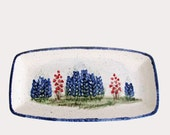 Ceramic Bread or Cracker Tray Serving Dish with Hand Painted Texas Bluebonnet Wildflowers