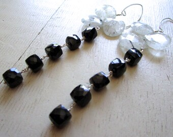 BLACK & WHITE LUXE Gemstone Earrings - Black Spinel - Rutilated Quartz - Sterling Silver - Etsy Jewelry - catROCKS - Grace and Frankie