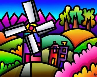 Llynon Mill - colourful fine art print by Amanda Hone