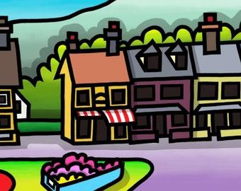 Seaview Tearooms, Borth Y Gest - colourful fine art print by Amanda Hone