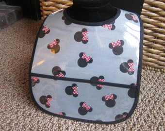 WIPEABLE BIB Gray Minnie Mouse Bib With Red and White Dot Bows