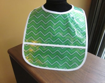 WATERPROOF WIPEABLE Baby to Toddler Wipeable Plastic Coated Bib Green and White Chevron Stripes