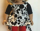 American Girl Doll Clothes Mickey and Minnie mouse inspired tunic top Leggings set 18 inch doll Outfits dress