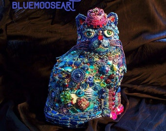 The Fantastic Bead Mosaics© CAT Series BLUE Cat with Fez