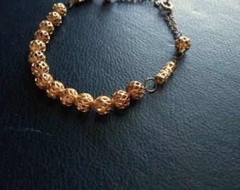 sale - fretwork - bright gold filigree beaded bracelet - vintage repurposed jewelry