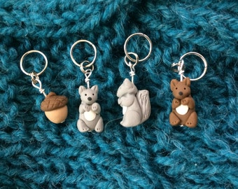 Squirrel and Acorn Stitch Markers (set of 4)